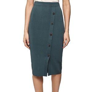 NWT Reiss | Green Hatty Front Button Knit Skirt